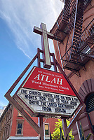 NEW YORK, NY - MAY 20: Signage a Atlah World Missionary Church, led by controversial pastor James David Manning, refers to the coronavirus as a 'death wave' and calls for repentance for people to pray for Jesus to 'drive the LGBTQ gentrifiers out of Harlem' during the coronavirus pandemic in New York City on May 20, 2020. <br /> CAP/MPI/RMP<br /> ©RMP/MPI/Capital Pictures