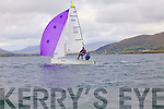 Brendan Corkery from the Atlantic Sailing Club showing his balance on the rails at the Inter Club regatta in Cahersiveen on Saturday at the helm was Commodore Bridget King both from the Atlantic Sailing Club in Cahersiveen.