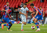 7th July 2020; Selhurst Park, London, England; English Premier League Football, Crystal Palace versus Chelsea; Christian Pulisic of Chelsea challenged by Scott Dann and Mamadou Sakho of Crystal Palace