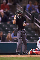 Umpire Jansen Visconti during a game between the Syracuse Chiefs and Rochester Red Wings on July 1, 2016 at Frontier Field in Rochester, New York.  Rochester defeated Syracuse 5-3.  (Mike Janes/Four Seam Images)
