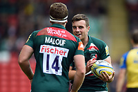 George Ford of Leicester Tigers celebrates a try by team-mate Nick Malouf. Aviva Premiership match, between Leicester Tigers and Gloucester Rugby on September 16, 2017 at Welford Road in Leicester, England. Photo by: Patrick Khachfe / JMP