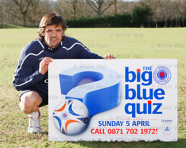 Rangers striker Nacho Novo at Murray Park promoting the Big Blue Quiz