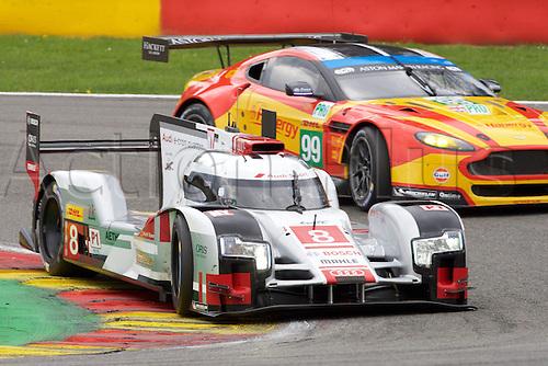 02.05.2015.  Spa-Francorchamps, Belgium. World Endurance Championship Round 2. Audi Sport Team Joest LMP1 Hybrid Audi R18 e-tron quattro driven by Lucas Di Grassi, Loic Duval and Oliver Jarvis.