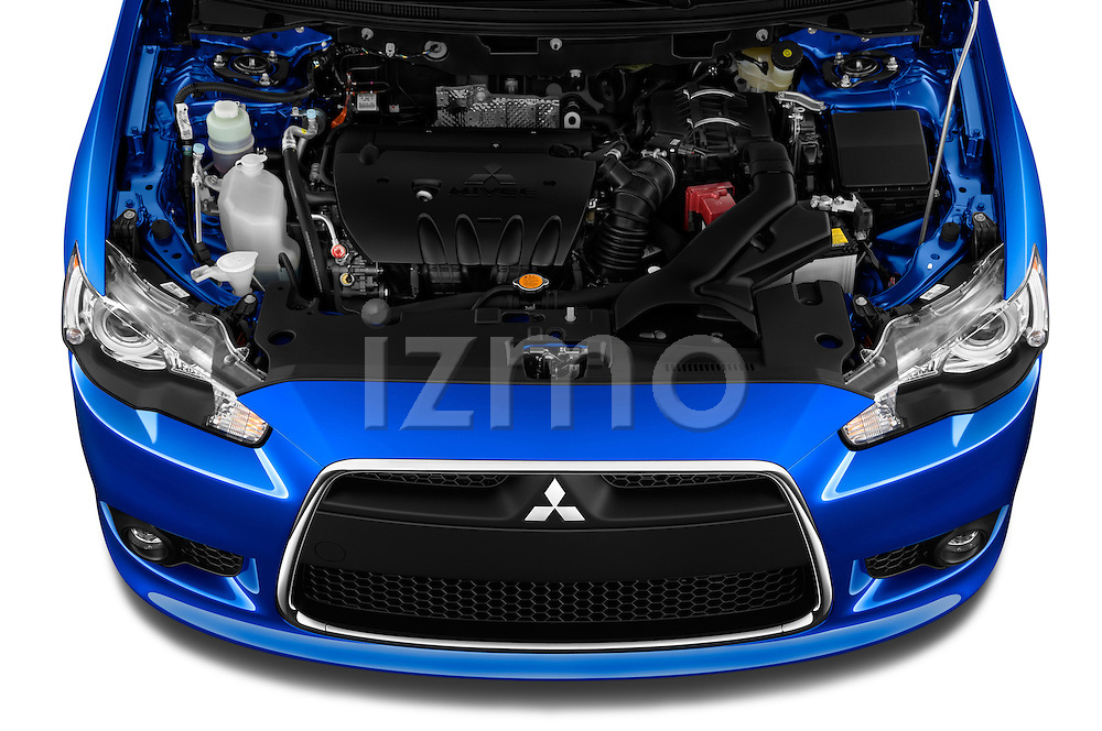 Car stock 2015 Mitsubishi Lancer  Sportback 5 Door Hatchback engine high angle detail view