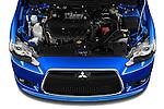 Car stock 2015 Mitsubishi Lancer  Sportback 5 Door Hatchback engine high angle detail view