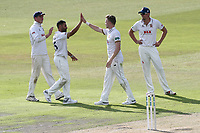 Sam Cook of Essex celebrates with his team mates after taking the wicket of Joe Mennie during Lancashire CCC vs Essex CCC, Specsavers County Championship Division 1 Cricket at Emirates Old Trafford on 9th June 2018