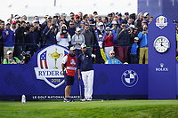 Webb Simpson (Team USA) on the 10th tee during the friday foursomes at the Ryder Cup, Le Golf National, Ile-de-France, France. 28/09/2018.<br /> Picture Fran Caffrey / Golffile.ie<br /> <br /> All photo usage must carry mandatory copyright credit (&copy; Golffile | Fran Caffrey)