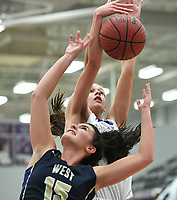 NWA Democrat-Gazette/J.T. WAMPLER Fayetteville's Sasha Goforth and Bentonville West's Anna Kash vie for a rebound Wednesday Feb. 7, 2018 at Bulldog Arena in Fayetteville. The Lady Bulldogs won 64-46.