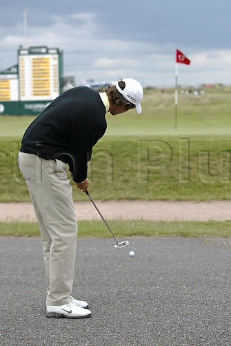 14 July 2005: Norwegian golfer Lars Brovold (NOR) putting from the road towards the 17th green during the first round. Brovold shot a 3 over par 75 in The Open Championship, The Old Course at St Andrews, Scotland. Photo: Glyn Kirk/Actionplus...050714 golf major putt hazard