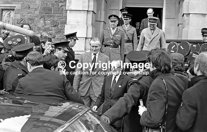 N Ireland Prime Minister James Chichester-Clark (in light suit) and Lord Carrington, British Secretary of State for Defence, leave Stormont Castle after a high-level meeting at which Chichester-Clark failed to receive the increase in troop levels he felt necessary. Later that day,on the 20th March 1971, Chichester-Clark resigned as Prime Minister to be replaced by Brian Faulkner. 197103200177a.<br />