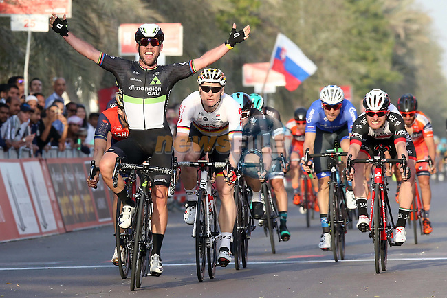 Mark Cavendish (GBR) Team Dimension Data outsprints Andre Greipel (GER) Lotto-Soudal to win Stage 1 Emirates Motor Company Stage of the 2017 Abu Dhabi Tour, running 189km from Madinat Zayed through the desert and back to Madinat Zayed, Abu Dhabi. 23rd February 2017<br /> Picture: ANSA/Matteo Bazzi   Newsfile<br /> <br /> <br /> All photos usage must carry mandatory copyright credit (&copy; Newsfile   ANSA)