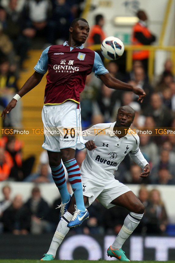 William Gallas of Tottenham Hotspur and Christian Benteke of Aston Villa - Tottenham Hotspur vs Aston Villa at the White Hart Lane  Stadium  - 07/10/12 - MANDATORY CREDIT: Dave Simpson/TGSPHOTO - Self billing applies where appropriate - 0845 094 6026 - contact@tgsphoto.co.uk - NO UNPAID USE.
