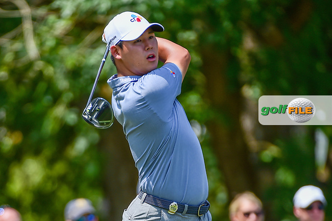 Si Woo Kim (KOR) watches his tee shot on 5 during Thursday's round 1 of the PGA Championship at the Quail Hollow Club in Charlotte, North Carolina. 8/10/2017.<br /> Picture: Golffile   Ken Murray<br /> <br /> <br /> All photo usage must carry mandatory copyright credit (&copy; Golffile   Ken Murray)