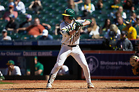 Andy Thomas (25) of the Baylor Bears at bat against the Missouri Tigers in game one of the 2020 Shriners Hospitals for Children College Classic at Minute Maid Park on February 28, 2020 in Houston, Texas. The Bears defeated the Tigers 4-2. (Brian Westerholt/Four Seam Images)