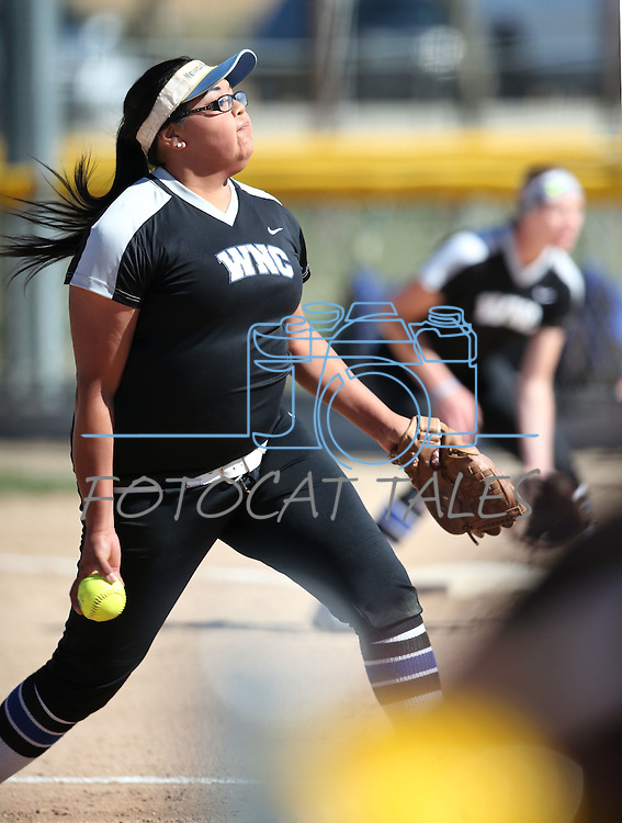 Western Nevada's Kaitlyn Jimmy pitches against College of Southern Nevada at Edmonds Sports Complex in Carson City, Nev., on Friday, April 1, 2016. <br />Photo by Cathleen Allison/Nevada Photo Source