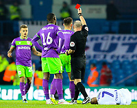 Referee Scott Duncan shows Bristol City's Josh Brownhill the red card<br /> <br /> Photographer Alex Dodd/CameraSport<br /> <br /> The EFL Sky Bet Championship - Leeds United v Bristol City - Saturday 24th November 2018 - Elland Road - Leeds<br /> <br /> World Copyright &copy; 2018 CameraSport. All rights reserved. 43 Linden Ave. Countesthorpe. Leicester. England. LE8 5PG - Tel: +44 (0) 116 277 4147 - admin@camerasport.com - www.camerasport.com