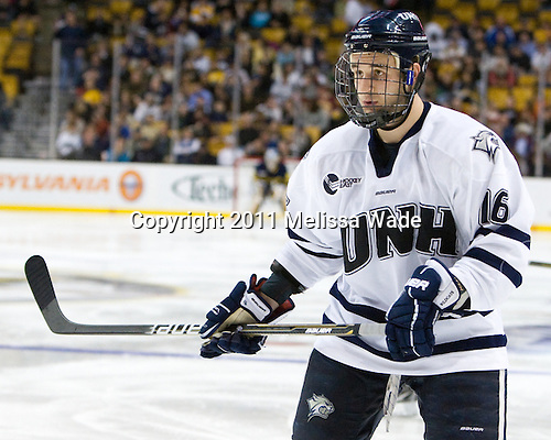 John Henrion (UNH - 16) - The Merrimack College Warriors defeated the University of New Hampshire Wildcats 4-1 in their Hockey East Semi-Final on Friday, March 18, 2011, at TD Garden in Boston, Massachusetts.