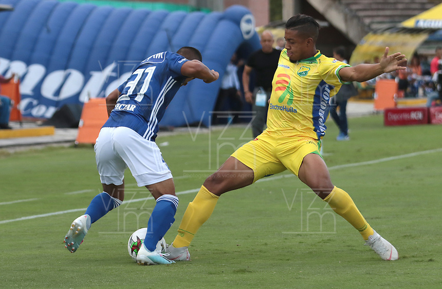 NEIVA- COLOMBIA, 11-08-2019:Acción de juego entre los equipos Atlético Huila y Millonarios durante partido por la fecha 5 de la Liga Águila II 2019 jugado en el estadio Guillermo Plazas Alcid de la ciudad de Neiva. /Action game between Atletico Huila and Millonarios during the match for the date 5 of the Liga Aguila II 2019 played at the Guillermo Plazas Alcid Stadium in Neiva  city. Photo: VizzorImage / Sergio Reyes / Contribuidor.