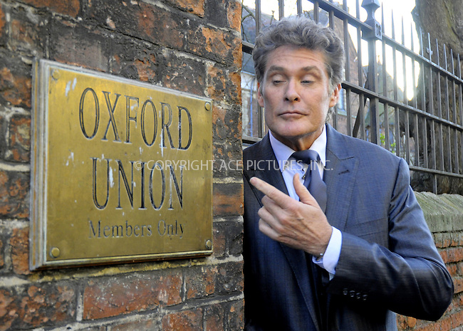 WWW.ACEPIXS.COM . . . . .  ..... . . . . US SALES ONLY . . . . .....February 8 2011, Oxford....David Hasselhoff visiting the Oxford Union at Oxford University on February 8 2011 in Oxford......Please byline: FAMOUS-ACE PICTURES... . . . .  ....Ace Pictures, Inc:  ..Tel: (212) 243-8787..e-mail: info@acepixs.com..web: http://www.acepixs.com