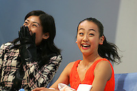 November 18, 2005; Paris, France;(R) Figure skating star MAO ASADA of Japan celebrates her winning score in ladies short program with (L) coach Mihoko Higuchi.  Asada went onto win gold in ladies figure skating at Trophee Eric Bompard, ISU Paris Grand Prix competition.  Asada is just 15 years old and not eligible for the Torino 2006 Olympics, yet still a bright hope in Japanese figure skating for championships. Mandatory Credit: Tom Theobald/(©) Copyright 2005 Tom Theobald