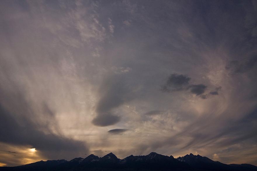 The High Tatra mountain range from the city of Poprad. High Tatras, Slovakia. June 2009. Mission: Ticha