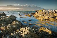 Sunset on rocky shores of Kaikoura coastline with Kaikouras mountains in background, Marlborough Region, South Island, East Coast, New Zealand
