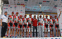 COLOMBIA. 17-08-2014. Boyacá se Atreve fue el equipo que obtuvo el 1er puesto en la clasificación general por equipos de la Vuelta a Colombia 2014 en bicicleta que se cumple entre el 6 y el 17 de agosto de 2014. / Boyaca se Atreve was the champion team in the overal clasification of teams of the Tour of Colombia 2014 in bike holds between 6 and 17 of August 2014. Photo:  VizzorImage/ José Miguel Palencia / Str