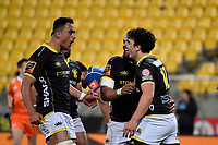 Wellington&rsquo;s Thomas Umaga-Jensen and Wellington&rsquo;s Gal Taufale in action during the Mitre 10 Cup - Wellington v Auckland at Westpac Stadium, Wellington, New Zealand on Thursday 4 October 2018. <br /> Photo by Masanori Udagawa. <br /> www.photowellington.photoshelter.com