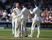 England's Ben Stokes celebrates taking the wicket of South Africa's Faf du Plessis with team-mate wicketkeeper Jonny Bairstow<br /> <br /> Photographer Stephen White/CameraSport<br /> <br /> Investec Test Series 2017 - Second Test - England v South Africa - Day 3 - Sunday 16th July 2017 - Trent Bridge - Nottingham<br /> <br /> World Copyright &copy; 2017 CameraSport. All rights reserved. 43 Linden Ave. Countesthorpe. Leicester. England. LE8 5PG - Tel: +44 (0) 116 277 4147 - admin@camerasport.com - www.camerasport.com
