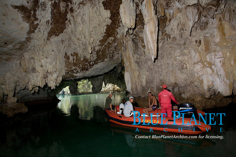 exploring a cave with the zodiac, from the MV Pindito liveabord, Raja Ampat, West Papua, Indonesia, Indo-Pacific Ocean
