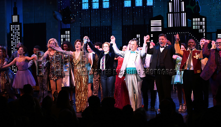 """Isabelle Mccalla, Angie Schworer, Beth Leavel, Caitlin Kinnunen, Brooks Ashmanskas, Christopher Sieber, Michael Potts and Josh Lamon during the Broadway Opening Night Curtain Call of """"The Prom"""" at The Longacre Theatre on November 15, 2018 in New York City."""