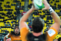 Jaguares' Tomas Lavanini tenses to jump for lineout ball during the Super Rugby match between the Hurricanes and Jaguares at Westpac Stadium in Wellington, New Zealand on Friday, 17 May 2019. Photo: Dave Lintott / lintottphoto.co.nz