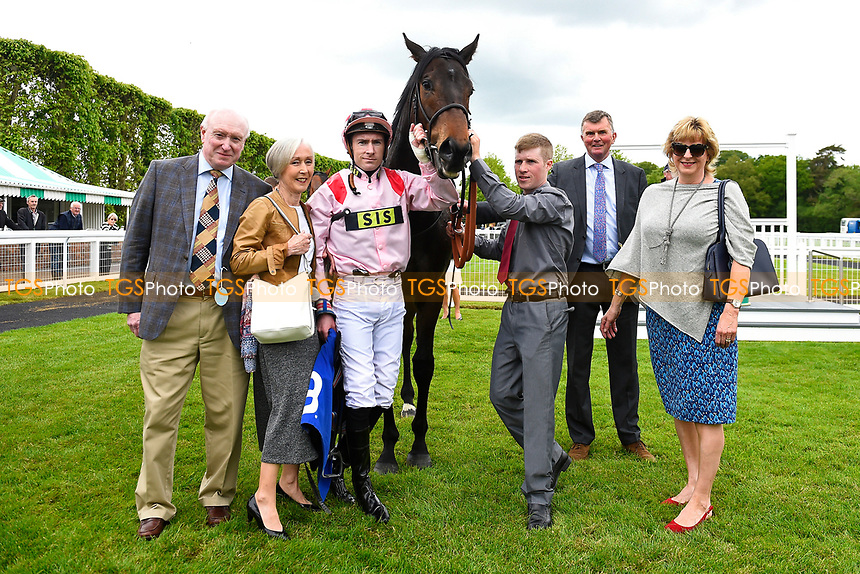 Connections of  Youkan with Jockey Martin Lane in the winners enclosure  during Afternoon Racing at Salisbury Racecourse on 18th May 2017