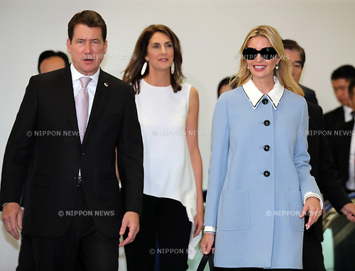"""November 2, 2017, Narita, Japan - Ivanka Trump (R), a daughter and senior adviser of the U.S. President Donald Trump is greeted by U.S. Ambassador to Japan William Hagerty (L) and his wife Chrissy (C) upon her arrival at the Narita International Airport in Narita, suburban Tokyo on Thursday, November 2, 2017. Ivanka Trump is now in Japan to attend a women's empowerment conference """"World Assembly for Women"""".    (Photo by Yoshio Tsunoda/AFLO) LWX -ytd-"""