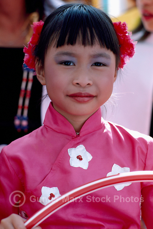 Portrait of Young Oriental Girl in Traditional Costume at Ethnic Festival, BC, British Columbia, Canada (No Model Release Available)