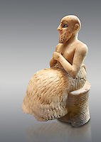 Gypsum, schist, shells and lapis lazuli statue of Ebih-Il, early Dynastic; Shakkanakku (military governor) of the ancient city-state of Mari in present day eastern Syria, dating from circa 2340 BC or from the Akkadian period of rule Circa 2250 BC.. The statue carries a cuneiform inscription in Akkadian. Excavated from; the temple of Ishtar at Mari by André Parrot in 1934-1935 the statue measures; 52.5 cm (20.7 in) high; 20.6 cm (8.1 in) wide and 30 cm (11.8 in) deep. Department of Oriental Antiquities; Richelieu; ground floor; room 1b; inv AO 17551; Louvre Museum; Paris