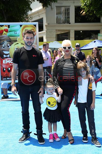 "Christina Aguilera, Matthew Rutler, Max Liron Bratman, Summer Rain Rutler<br /> at the premiere of ""The Emoji Movie,"" Village Theater, Westwood, CA 07-23-17<br /> David Edwards/DailyCeleb.com 818-249-4998"