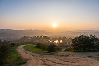 Sunset from Fiji Hill on the campus of Occidental College, overlooking Los Angeles, Jan. 21, 2015.<br />