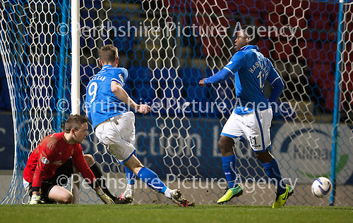 St Johnstone v Motherwell....25.02.14    SPFL<br /> Steven MacLean scores his first goal<br /> Picture by Graeme Hart.<br /> Copyright Perthshire Picture Agency<br /> Tel: 01738 623350  Mobile: 07990 594431