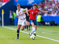 PARIS,  - JUNE 16: Carli Lloyd #10 fights for the ball with Carla Guerrero #3 during a game between Chile and USWNT at Parc des Princes on June 16, 2019 in Paris, France.
