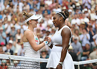 Serena Williams (USA) shakes hands with Alison Riske (USA) after their Ladies' Singles Quarter-Finals match<br /> <br /> Photographer Rob Newell/CameraSport<br /> <br /> Wimbledon Lawn Tennis Championships - Day 8 - Tuesday 9th July 2019 -  All England Lawn Tennis and Croquet Club - Wimbledon - London - England<br /> <br /> World Copyright © 2019 CameraSport. All rights reserved. 43 Linden Ave. Countesthorpe. Leicester. England. LE8 5PG - Tel: +44 (0) 116 277 4147 - admin@camerasport.com - www.camerasport.com