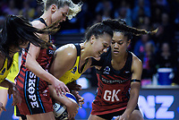 Aliyah Dunn takes a pass under pressure the ANZ Premiership netball match between the Central Pulse and Mainland Tactix at TSB Bank Arena in Wellington, New Zealand on Monday, 14 May 2018. Photo: Dave Lintott / lintottphoto.co.nz