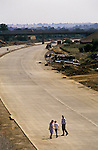 M40 motorway under construction 1980s Banbury Oxfordshire UK. Sunday morning locals inspecting new motorway.