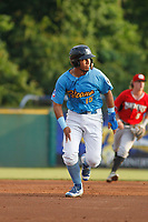 Myrtle Beach Pelicans catcher Jhonny Pereda (15) running the bases during a game against the Carolina Mudcats at Ticketreturn.com Field at Pelicans Ballpark on June 15 , 2018 in Myrtle Beach, South Carolina. Carolina defeated Myrtle Beach 4-2. (Robert Gurganus/Four Seam Images)