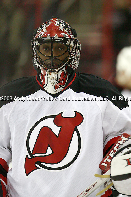 26 February 2008: New Jersey's Kevin Weekes. The Carolina Hurricanes defeated the New Jersey Devils 2-1 after overtime at the RBC Center in Raleigh, NC in a 2007-08 National Hockey League regular season game.