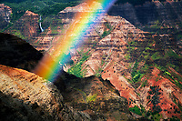 Waimea Canyon. Kauai with rainbow Hawaii