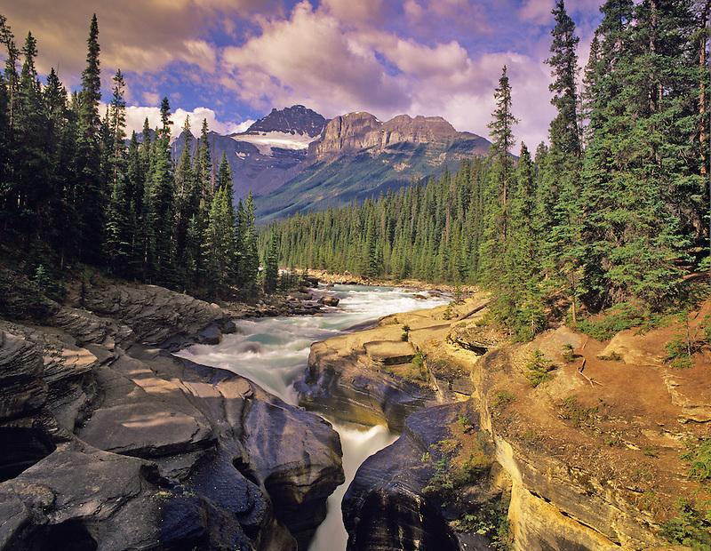 Mystaya River and Canyon and Mt. Sarbach. Banff National Park, Canada
