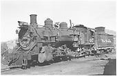 Front left view of K-37 #497.<br /> D&amp;RGW  Durango, CO  Taken by Van Dusen, Eugene - 8/28/1955