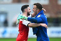 Fleetwood Town's Lewis Coyle and Alex Cairns celebrate<br /> <br /> Photographer Richard Martin-Roberts/CameraSport<br /> <br /> The EFL Sky Bet League One - Fleetwood Town v Plymouth Argyle - Saturday 16th March 2019 - Highbury Stadium - Fleetwood<br /> <br /> World Copyright © 2019 CameraSport. All rights reserved. 43 Linden Ave. Countesthorpe. Leicester. England. LE8 5PG - Tel: +44 (0) 116 277 4147 - admin@camerasport.com - www.camerasport.com