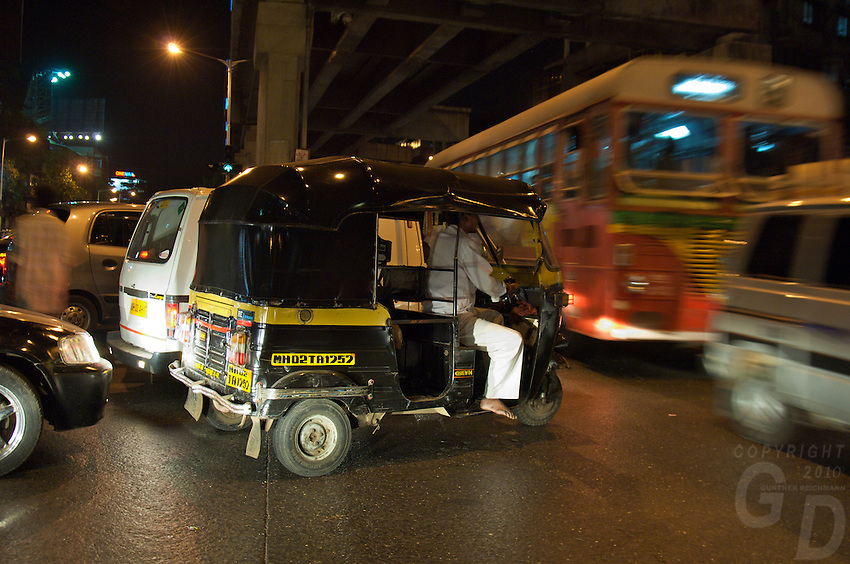 Mumbai traffic at night, central Mumbai India,